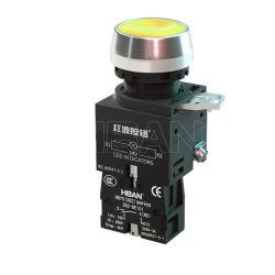 Chinese fabrikanten Flat Round drukknop 220V Geel verlicht Xb2 tijdelijk IP65 voor automatiseringsapparatuur