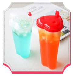 Paar het van uitstekende kwaliteit van de Vorm van het Hart keurt de Beschikbare Kop van de Koppen van het Dessert van de Partij van de Dag van de Drinkende Plastic Valentijnskaart van Koppen met Deksel goed