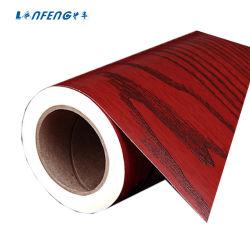 Qualität wasserdichte selbstklebende Belüftung-rote Walnuss-hölzerne Tapete vom China-Lieferanten