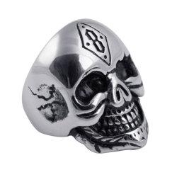 Roue de la carte de nouveaux bijoux Punk hommes bague en alliage de la personnalité de la chance Numéro 8 Bague Crâne
