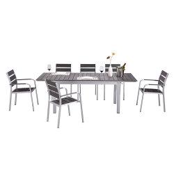 コンテンポラリーガーデンアルミニウム樹脂屋外ダイニングテーブルセット家具