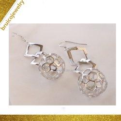 Lucky Sterling Silver Earring beau blanc rhodium plaqué or Earring Earring pour cadeau de promotion de l'or