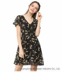 Mayorista de moda Dama personalizado de la fábrica de impresión de flores Collar V mujeres vestido de seda poliéster suelto
