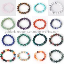 Cordões de Pedra Natural Gemstone personalizado Olho do Tigre Ametista Bracelete com rebordo para Dom