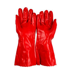 Handschoenen van pvc van de Hand van het Werk van de veiligheid de Industriële Lange Rode