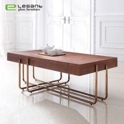 Retângulo MDF folheado de madeira de nogueira mesa de café com Rose Gold da perna em aço inoxidável