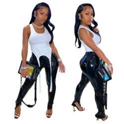 2021 أحدث أزياء السراويل سقوط مثير انقسام هيم سمكيني spectular سيدات السيدات، سروال أسود أسود من الجلد PU للنساء، سروال للنساء