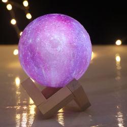 Luce notturna a LED ricaricabile di design popolare, base in legno, colore RGB Lampada Luna 3D con telecomando