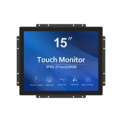 15pouces plein moniteur à écran tactile capacitif plat Pacp écran tactile VGA DP DVI HDMI Interface USB Écran tactile pour le paiement de kiosques tactile