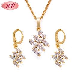 Новый дизайн 18k позолоченными контактами красочные циркон свадьбы Earring ожерелья Набор ювелирных изделий с CZ камня