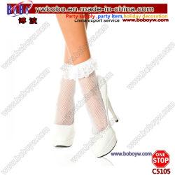 Calcetines calcetines de algodón en el tobillo publicidad regalos con arco blanco calcetines mujer medias de encaje (C5105)
