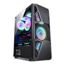 강철 메시 디자인을%s 가진 최신 판매 RGB 지구 빛 중앙 탑 ATX 도박 컴퓨터 PC 상자