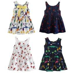 印刷されるカスタマイズされた夏の高品質の綿ポリエステルによっては袖なしの衣服を身に着けている女の赤ちゃんの子供の子供の方法のための気高い服が開花する