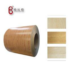 Grãos de madeira filme de PVC Chapas de aço laminado/Placa/bobina para a pele da Porta