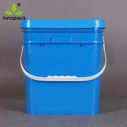 15 litres et 4 Gallon carré personnalisé seau en plastique avec couvercle pour le pétrole de seau de peinture à l'emballage alimentaire