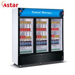 3 portes congélateur vertical commerciale des boissons du refroidisseur d'affichage vitrine réfrigérateur