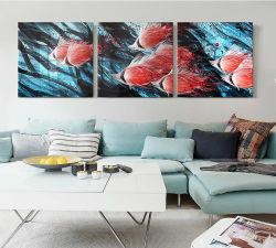 """Parede de metal decoração Arte Vermelho decorações modernas - náuticos Sea Art escultura para cozinha e Bedroom-Set de 3 Painéis 75"""" X 24"""""""