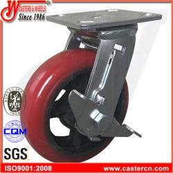5X2 Korea Typ aufgerundete PU-Schwenker-Fußrollen mit seitlicher Bremse