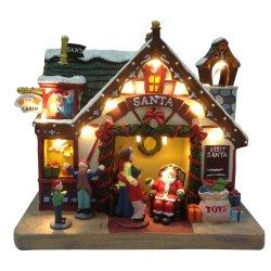 Décor Polyresin assis Santa phare de la scène Village de Noël