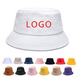 대량 도매 면 평야 백색 주문 로고 남녀 공통 공백 어업 모자 물통 모자