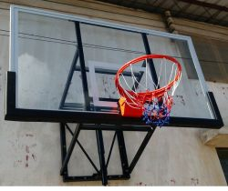 Estándar oficial vidrio de alta calidad Tablero de baloncesto al aire libre y el sistema de soporte