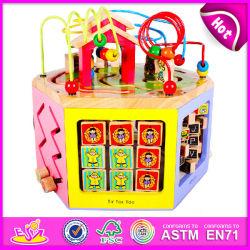 2015 novas esferas de madeira em brinquedos para crianças, cordões coloridos brinquedo para crianças, Multifuncional de cordões de cadeia de Madeira brinquedo para o bebé W11b055