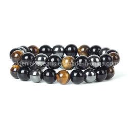 Hematite глаз тигра черный цвет камня браслет для женщин 10мм рельефная мужчин магнитной защиты в области здравоохранения