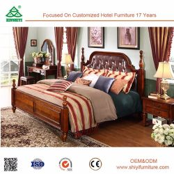 Meilleure vente antique et délicatement baroque européen de luxe en bois sculpté de style rococo lit en cuir