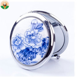 Рекламный мини Металлический карманный косметические зеркала заднего вида с логотипом печать