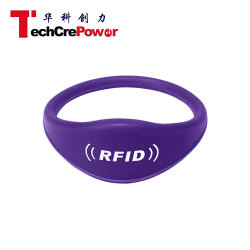 G028-57 Oblate Head 13,56MHz RFID Silicone polsband met Fudan FM11RF08 Chip