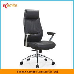 黒く贅沢で快適で調節可能な旋回装置の上昇の革オフィスの椅子は事務机の家具の議長を務める