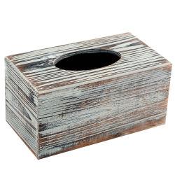 Rectángulo de madera pintado blanco del tejido para la dispensación de la servilleta