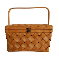 Tejidos Artesanales de Madera Natural cesta de picnic para camping