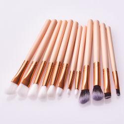 12 PCS Profissão Makeup Ajuste da escova de nylon puxador de madeira Long Pole Sobrancelha Blend Eyeshadow Kit Cosméticos compõem a ferramenta