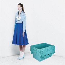 Plástico resistente Contenedor de almacenamiento encajables con tapa con bisagras