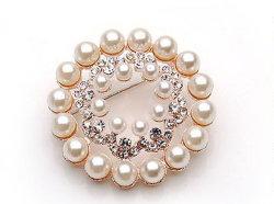 precio de fábrica China Bisutería Broche de flor de perlas piedras para damas