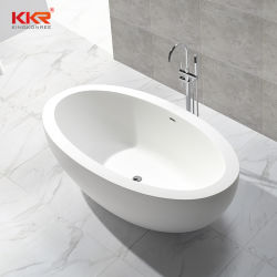 La parte superior de la piedra de resina Sanitaryware Corian Hotel forma de óvalo superficie sólida sobre la bañera de patas