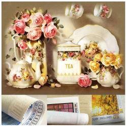 أزهار الحياة الساكنة حلوى الشاي حلوى بالشاي بماكينة كاملة لثقب الماسات رسم الخرز الفني للتطريز