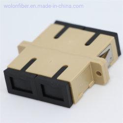Sc/Upc 10g 이중 다중 상태 Om1 Om2 플라스틱 광섬유 접합기에 플랜지 베이지색 색깔 Sc/Upc를 가진 짝지어주는 소매