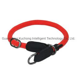 """Collare di cane di cuoio reale con le strisce riflettenti e l'anello a """"D"""" resistente"""