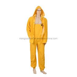 노란 비닐 PVC/Polyester PP 3 PC 수도꼭지는 Rainsuit를 헐덕거린다
