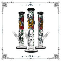 Mano saltata 18 pollici di tubo di vetro diritto alto con il tubo di acqua di fumo di vetro esaltante dell'illustrazione di arte del narghilé basso di cristallo del reticolo