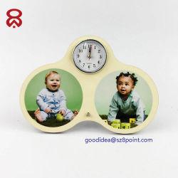 Allarme di legno dell'orologio del movimento del MDF Digital di sublimazione della decorazione da tavolino sveglia dello spazio in bianco