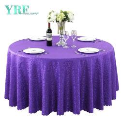 90 인치 원탁 피복 리넨 자주색 폴리에스테 테이블 피복