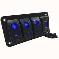 Le panneau des commutateurs à bascule avec 4,8 ampères Dual USB Chargeur rapide de style de culbuteur avec voltmètre intégré, LED rétroéclairé bleu, commutateurs et précâblé Chargeur USB