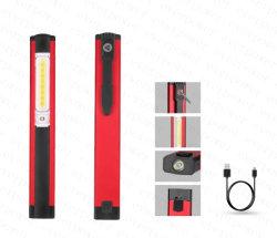 Diseño de plumas de bolsillo USB COB llevó la luz de trabajo con imán Clip