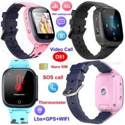 4G IP67 Wasserdichtes Thermometer Smart Watch GPS Tracker mit Körper Temperatur- und Videoanruf D51