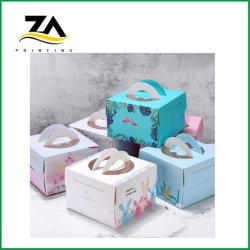 Fancy Cake Verpackung Dessert Papier Bäckerei Schlitz PVC-Fenster bunt Druckboxen