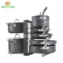 高品質の調節可能な鍋のオルガナイザーの台所記憶のホールダーの組置き活字鍋ラック