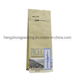 알루미늄 호일 식품 포장 부대 브라운 기술 종이 1회분의 커피 봉지 편평한 바닥 주머니 식품 포장 포장